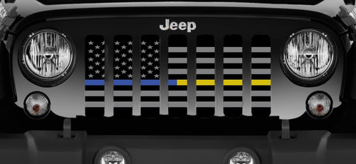 American Tactical Back the Blue and Gold Jeep Grille Insert
