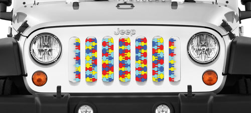 Autism Awareness Puzzle Piece Jeep Grille Insert