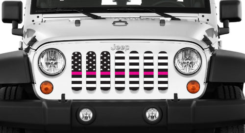Black and White Fight Like a Girl Pink Line Jeep Grille Insert