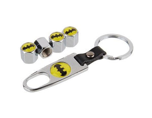 Valve Stem Covers with Keychain - Batman Symbol