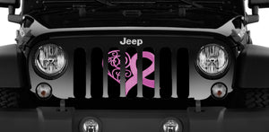 Pink Hearts Breast Cancer Ribbon Jeep Grille Insert