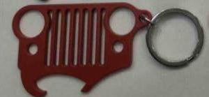Red Jeep Grille Key Chain w/ Bottle Opener