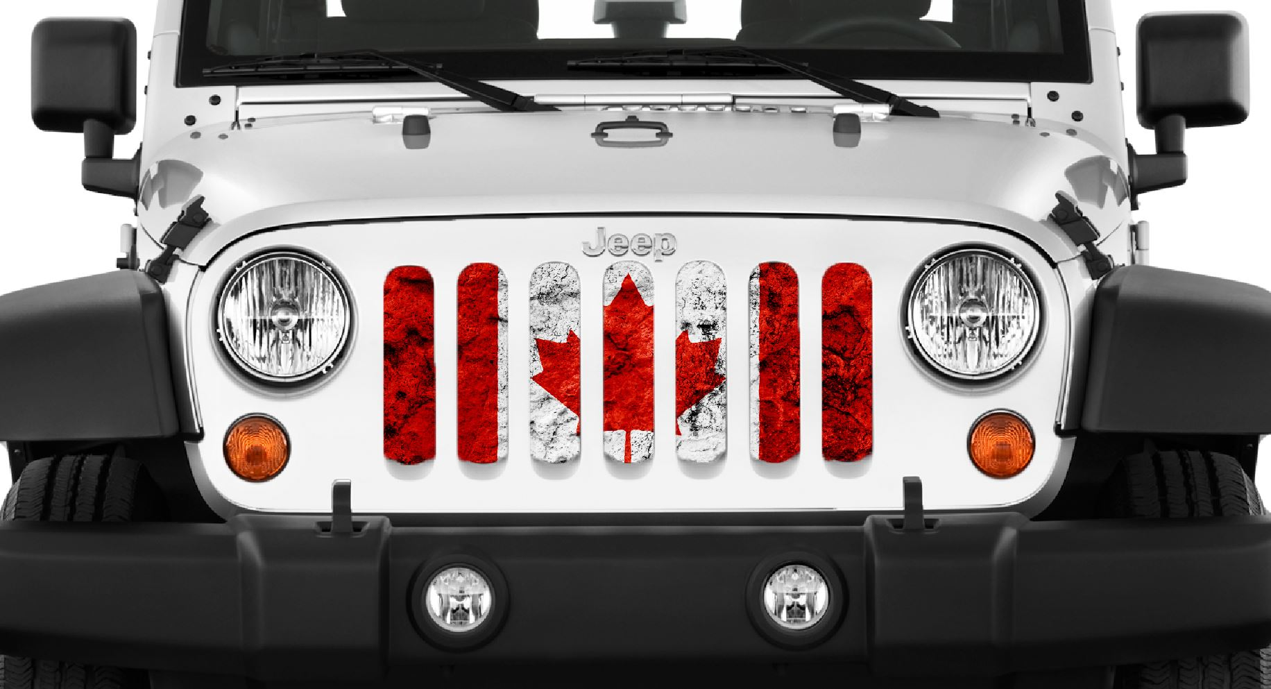 Jeep Wrangler Grunge Canada Flag Grille Insert Dirty Acres