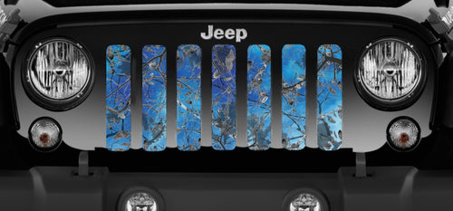 Dirty Girl Blue Undertow Camo Jeep Grille Insert