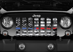 Dirty Grace Tactical Back the Blue and Red  Jeep Grille Insert