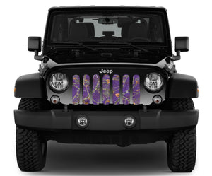 Dirty Girl Plum Purple Woodland Camo Jeep Grille Insert