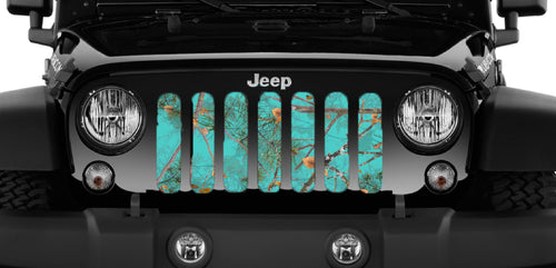 Dirty Girl Teal Serenity Woodland Camo Jeep Grille Insert