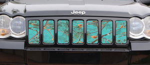 Dirty Girl Teal Serenity Woodland Camo Grille Insert