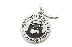 Don't Follow Me Emblem Jeep Key Chain