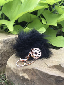 Fluff Ball Jeep Gear Key Chain Black