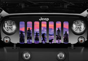 Hiker Purple Mountain Jeep Grille Insert