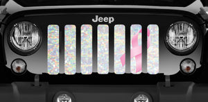 Iridescent White Pink Ribbon Jeep Grille Insert