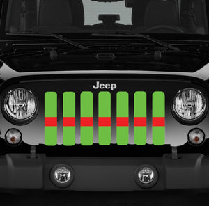 Lime Green Red Line Grille Insert