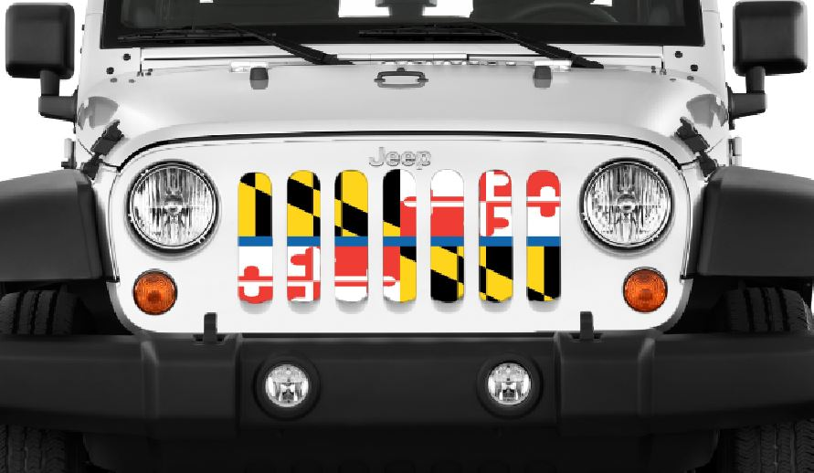 Maryland Back The Blue Flag Jeep Grille Insert