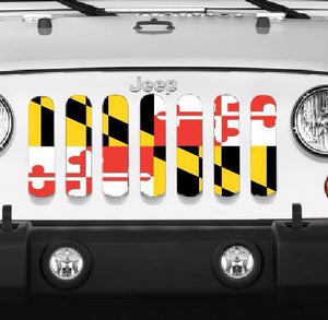 Maryland Flag Jeep Wrangler Grill Insert