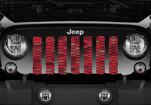 Mermaid Scales - Red - Jeep Grille Insert