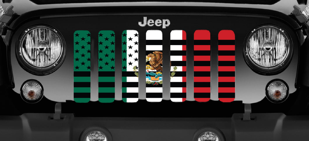 Mexican American Flag Grille Insert
