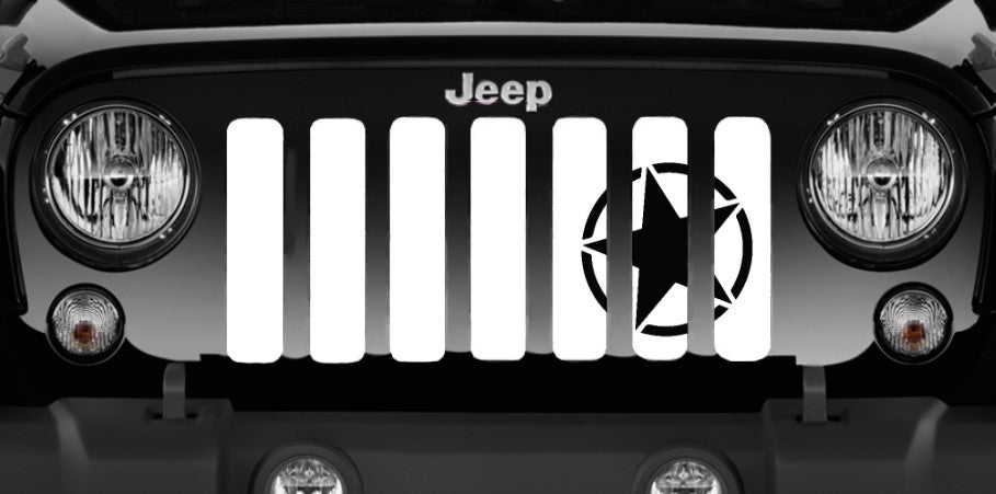 Oscar Mike Black Star Jeep Grille Insert
