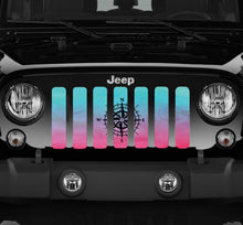 Pink and Teal Compass Jeep Grille Insert