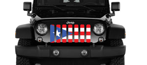 Puerto Rico Flag Jeep Grille Insert