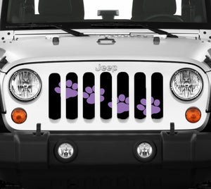 Puppy Paw Prints - Purple Diagonal - Jeep Grille Insert