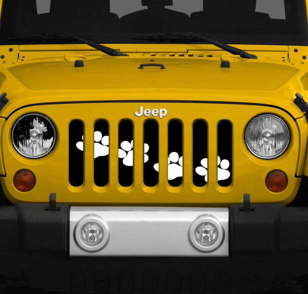 Puppy Paw Prints - White Diagonal - Jeep Grille Insert