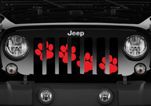 Puppy Paw Prints - Red Diagonal - Jeep Grille Insert