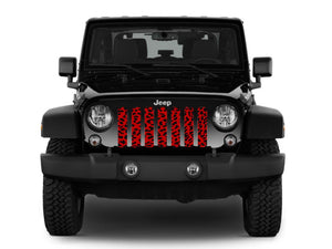 Red Cheetah Print Jeep Grille Insert