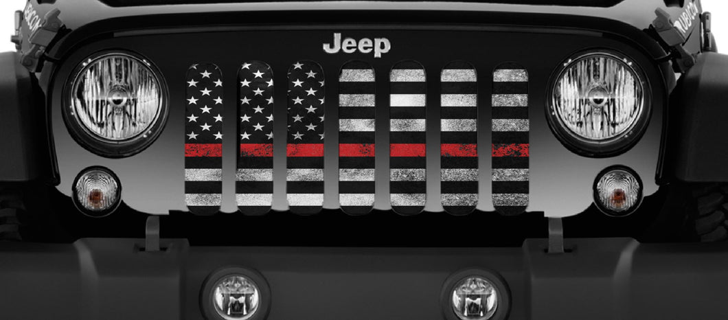 Red Steel - Thin Red Line Jeep Grille Insert