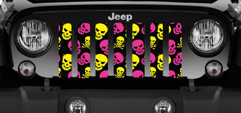 Skulls (Pink and Yellow) Jeep Grille Insert