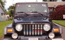 American Black and White Back the Blue and Red Jeep Grille Insert