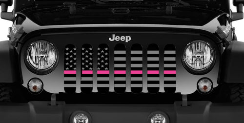 Tactical Fight Like a Girl Pink Line Jeep Grille Insert