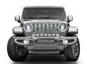 Teal Leopard Print Grille Insert