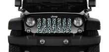 Teal White Leopard Print Jeep Grille Insert