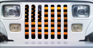 American Orange Haze Flag Jeep Grille Insert