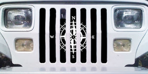 White Compass Jeep Grille Insert