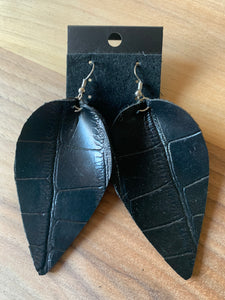 Black Faux Alligator Print Leather Earrings