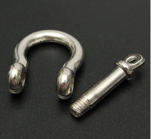 Silver D Ring Clevis Shackle Key Chain