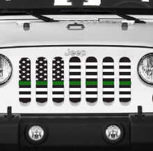 American Black and White Thin Green Line Military Grille Insert