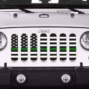 American Black and White Thin Green Line Grille Insert
