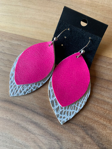 Pink and Silver Faux Leather Earrings
