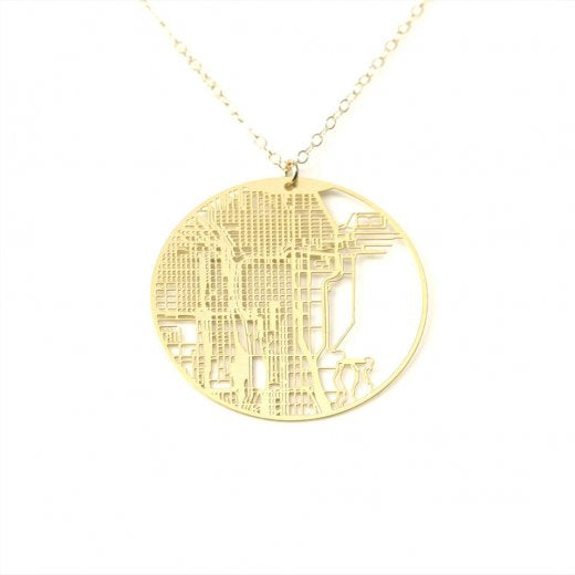 Urban Grid Map Necklace Chicago Gold on Model