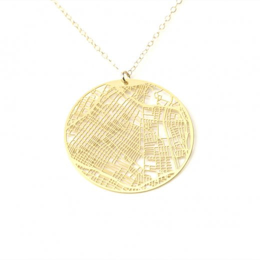 Urban Grid Map Necklace Los Angeles Silver on Model