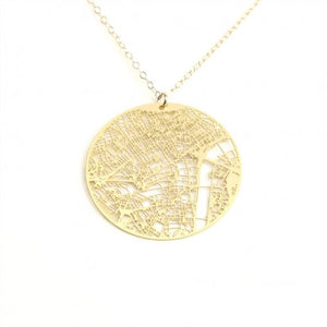 Urban Grid Map Necklace London Gold
