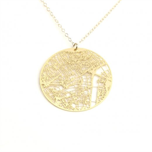 Urban Grid Map Necklace London Gold on Model