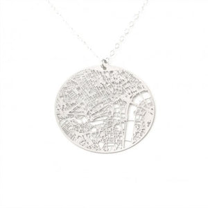 Urban Grid Map Necklace London Silver