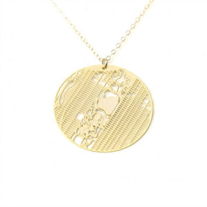 Urban Grid Map Necklace New York City Gold