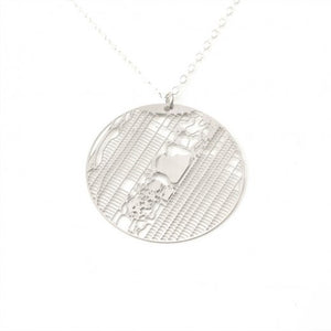 Urban Grid Map Necklace New York City Silver