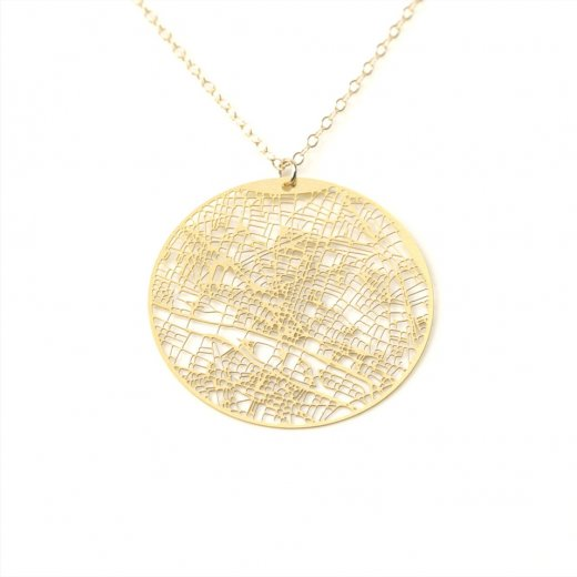 Urban Grid Map Necklace Paris Silver on Model