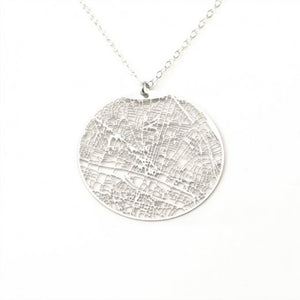 Urban Grid Map Necklace Paris Silver